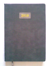 A4  2019 Page A Day Soft To Touch Suedette DARK GREY Case Bound Desk Diary