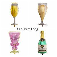 100cm BIG CHAMPAGNE BOTTLE WINE GLASS PROSECCO BIRTHDAY HELIUM FOIL BALLOON UK