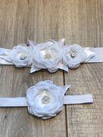 HANDMADE CHRISTENING FLOWER GIRL SASH AND HEADBAND WHITE SATIN FABRIC FLOWERS
