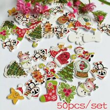 50Pcs Scrapbooking Sewing Wooden Santa Claus Deer Christmas Buttons 2 Holes