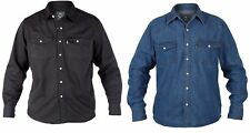 Mens Duke Casual Classic Western Style Denim Shirt in Black AND blue S upto 6XL