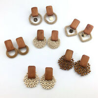 Fashion Women Handmade Earrings Wood Bamboo Rattan Pendant Dangle Drop Jewelry
