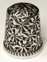 """Antique Ketcham & McDougall Sterling Silver Thimble  """"Embroidery""""  C1880s"""
