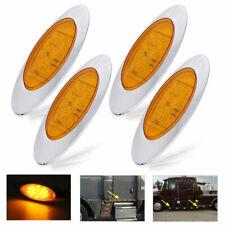 "4pcs 6.5"" Amber Chrome 16 LED Side Marker Lights for Freightliner Truck Trailer"