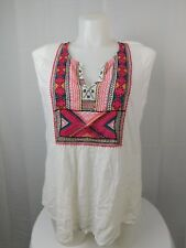 Lucky Brand Plus Size Tribal Embroidered Tank Top 1X White #4956