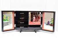 VTG JAPANESE LACQUER JEWELRY MUSIC BOX w DANCING GEISHA