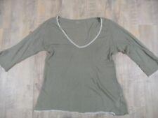 MAJESTIC PARIS extrem leichtes Kaschmir Shirt 3/4 Ärmel oliv Gr. 3 BI1217