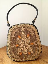 Vintage Caron Huston Tx Hand Decorated Train Purse With Original Large Mirror