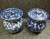 Vintage Set Of TWO Marshall Pottery Blue Spongeware Crock Stoneware W/Lid Signed