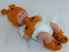 PRINTED INSTRUCTIONS-NEW BABY TEDDY BEANIE BOOTIES & MITTENS KNITTING PATTERN