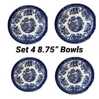 Royal Wessex Queens by Churchill Tonquin Blue & White Bowl Set Of 4 Entree Bowls