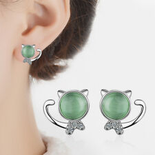 Women Lady Cute Solid 925 Sterling Silver Green Opal Cat Ear Stud Earrings