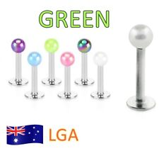 1 x Monroe Green Luminous Ball Top Monroe 16g Lip Labret Body Jewellery