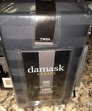 damask STRIPE Bedskirt Twin Size 500 Thread Count 100% Egyptian Cotton Black