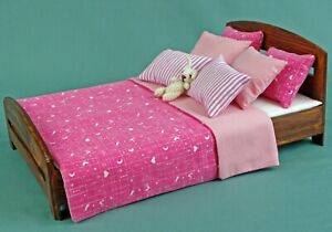Bed linen set for a king size Double bed dollhouse miniature 1:6 scale, bedding