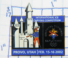 UTAH, PROVO INTN'L ICE CARVING COMPETITION '02 OLYMPICS SOUVENIR METAL LAPEL PIN