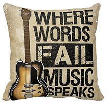 Guitar Where Words Fall Music SpeaksThrow Pillow Case Cushion Cover Home Decor