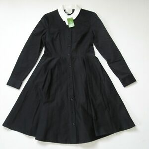 NWT Kate Spade Joel in Black Contrast Collar Cotton Shirt Dress 6 $398