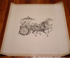 Vintage Chinese Asian NOBLE CHARIOT Black & White Woodblock Cut Print 28""