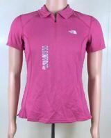 North Face Women's Geomesh Burstall 1/4 Zip Pink Fever L Vapor Wick Polo NWT