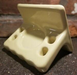 Vintage Yellow Ceramic Wall Mount Toothbrush Cup Holder Retro Bathroom