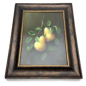 """Original Oil on Canvas Painting Pears Fruit Still Life 11""""x15"""" Signed by Jackie"""