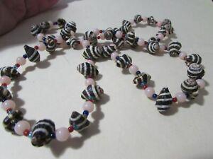 "VINTAGE plastic sea-shell & peach beaded 28"" necklace"