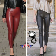 9481ceafda0177 Women's PU Leather Pants Stretchy Push Up Pencil Skinny Tight Leggings  Black US
