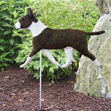 Bull Terrier Outdoor Garden Sign Hand Painted Figure Brindle/White