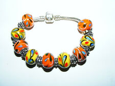 "Beaded  Love Charm  SMALL  Bracelet  Multi  Orange & Yellow Glass Beads  7"" Inch"
