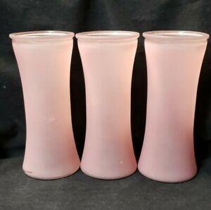 """Pink  GLASS CYLINDER VASE 9 3/4"""" Tall Set of 3 Vases"""
