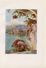 Stampa antica LAGO d' ORTA veduta da un arco isola di San Giulio 1905 Old print