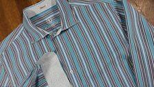 Bugatchi Uomo Men's XL Shaped Fit Cotton Sport Shirt Blue Striped Flip Cuffs