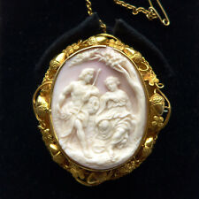 Antique Shell Cameo High Relief Venus & Adonis Shakespeare 18ct GOLD C.1860