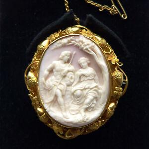 Cameo Brooch ANTIQUE 18ct Gold Acorn Frame RARE Venus & Adonis Subj Pink Conch