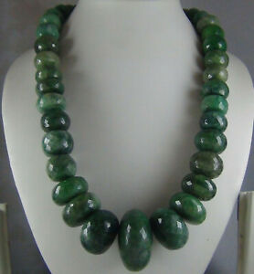 1437Cts NATURAL EMERALD HUGE FACETED BEADS NECKLACE STRAND 35mm - 13mm