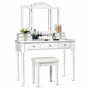 Vanity Set W/7 Drawers Tri-Folding Necklace Hooked Mirror Dressing Table White
