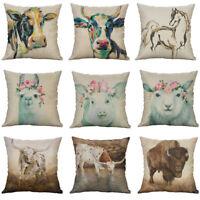 New Printing Animal Cow sheep Cotton Linen Pillow Case Cushion Home Décor Cover