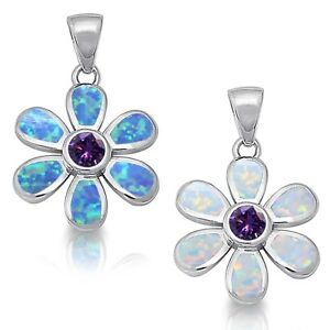 Blue or White Fire Opal Flower Amethyst Sterling Silver Necklace Pendant