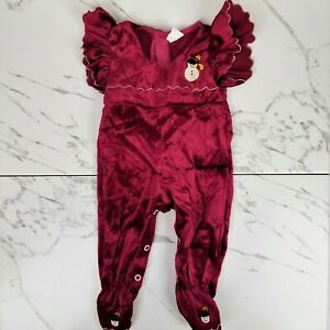 Vintage 3-6 Month Baby Velour Footed Bodysuit Embroidered Snowman Ruffle Snap Up