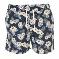 Men's Jack Jones Maibu Floral Zip Back Pocket Swim Shorts in Blue