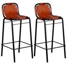 2 Leather Bar Stools Breakfast Kitchen Bars Pubs Steel Industrial Style Chairs
