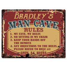 PPMR0128 BRADLEY'S MAN CAVE RULES Rustic Tin Chic Sign man cave Decor Gift
