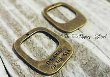 2 Quote Charms DREAMING OF THE SEA Antiqued Bronze Nautical Pendants Ocean