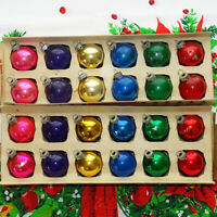 Vintage 24 Shiny Brite Mercury Glass Christmas Tree Ornaments Six Colors 2 Inch