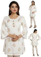 Women Indian Kurti Tunic White Top Kurta Shirt Dress Cotton Printed  EASHITA16D