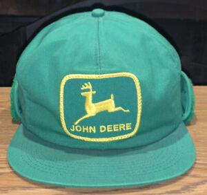 Vintage 90s John Deere Patch Winter Hat w/ Fur Ear Flaps K-Products USA C1