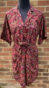 Urban Outfitters Women Red Floral Print  Mini Shirt Dress Tunic Size XS, S, M, L