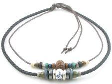 Adjustable Tribal Hemp Black Leather Beads Beaded Necklace Choker Mens Womens