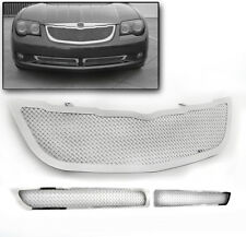 2004-2008 CHRYSLER CROSSFIRE CHROME MAIN UPPER + BUMPER GRILLE GRILL INSERT 3PCS